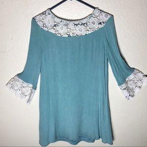 ALTAR'D STATE BLUE tunic dress lace crochet trim M